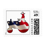 Proud American Farmer  USA Flag Tractor Postage Stamp