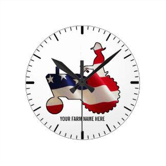 Proud American Farmer  USA Flag Tractor Round Clock