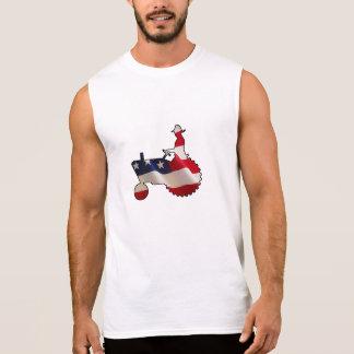 Proud American Farmer  USA Flag Tractor Sleeveless Shirt