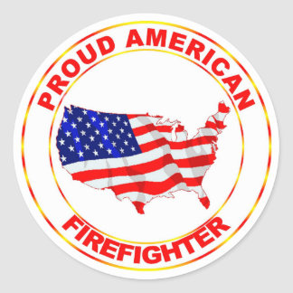 PROUD AMERICAN FIREFIGHTER CLASSIC ROUND STICKER