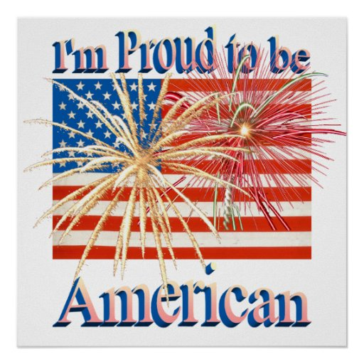Proud American Fireworks Flag alpha Poster