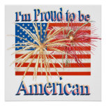 Proud American Fireworks Flag alpha Posters