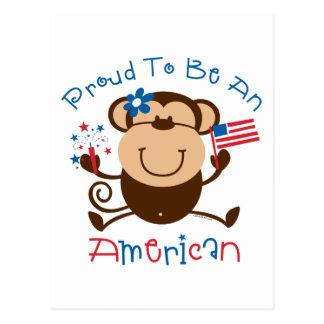 Proud American Girl Monkey Postcard