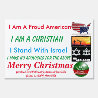 Proud American Merry Christmas PCGW Yard Sign
