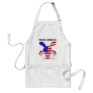 Proud American Pride Red White Blue Bunny Adult Apron