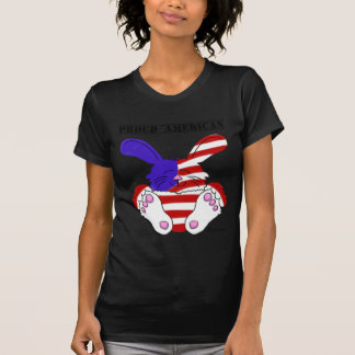 Proud American Pride Red White Blue Bunny Tee Shirt