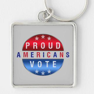 PROUD AMERICANS VOTE Silver-Colored SQUARE KEYCHAIN
