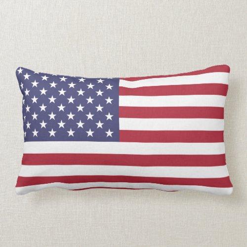 Proud and Patriotic USA Flag Lumbar Pillow