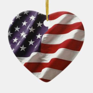 Proud and Patriotic USA Flag Ceramic Heart Decoration
