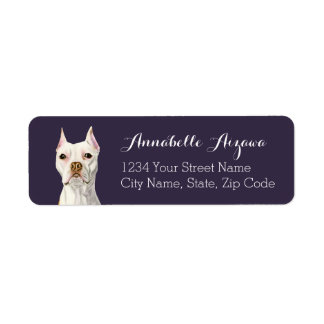 """Proud and Tall"" White Pit Bull Dog Portrait Label"