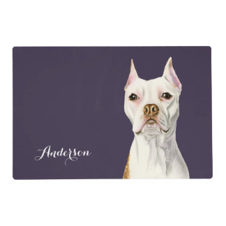 """""""Proud and Tall"""" White Pit Bull Dog Portrait Placemat"""