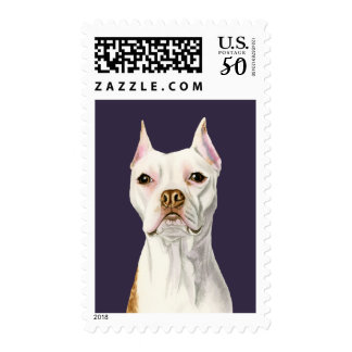 """Proud and Tall"" White Pit Bull Dog Portrait Postage"