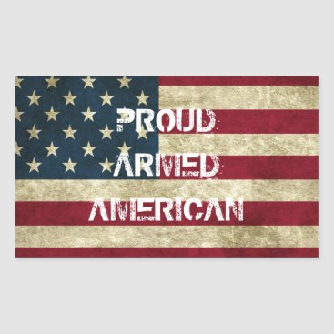 USA Themed Proud Armed American Sticker