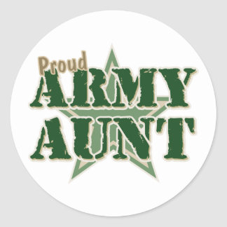 Proud Army Aunt Classic Round Sticker