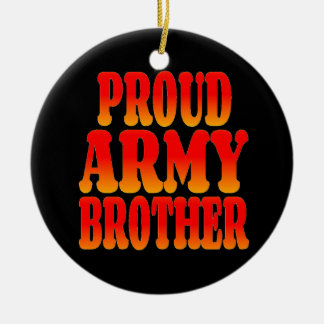 Proud Army Brother in Cheerful Colors Double-Sided Ceramic Round Christmas Ornament