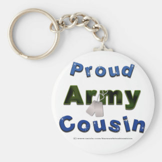 Proud Army Cousin Blue Keychain