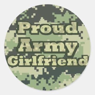 Proud Army Girlfriend Classic Round Sticker
