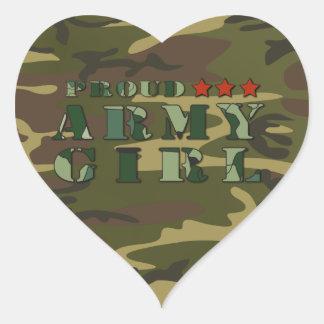 Proud Army Girlfriend Heart Stickers