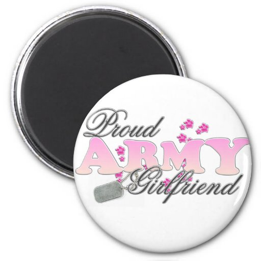 Proud Army Girlfriend(pink) 2 Inch Round Magnet