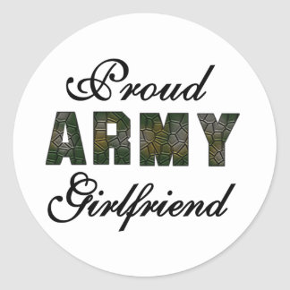 Proud Army Girlfriend Round Stickers