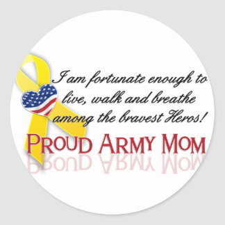 Proud Army Mom Classic Round Sticker