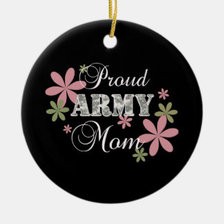 Proud Army Mom [fl c] Double-Sided Ceramic Round Christmas Ornament