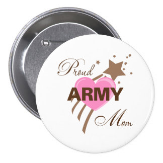 Proud Army Mom Heart Button