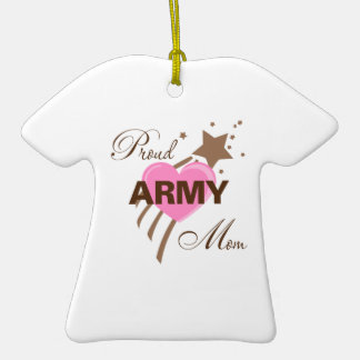 Proud Army Mom Heart Double-Sided T-Shirt Ceramic Christmas Ornament