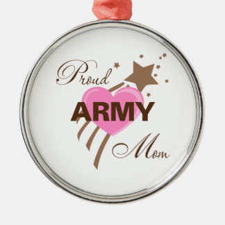 Proud Army Mom Heart Round Metal Christmas Ornament