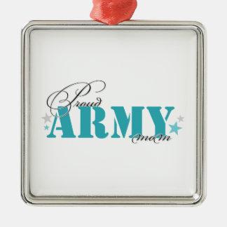 Proud Army Mom Square Metal Christmas Ornament