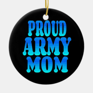 Proud Army Mom Double-Sided Ceramic Round Christmas Ornament