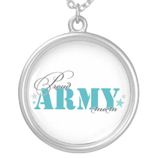 Proud Army Mom Round Pendant Necklace