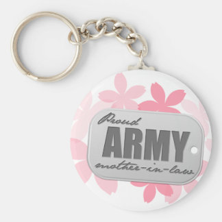 Proud Army Mother-in-law Flowers Basic Round Button Keychain
