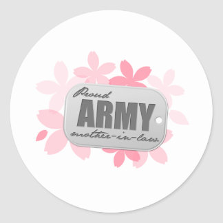 Proud Army Mother-in-law Flowers Classic Round Sticker