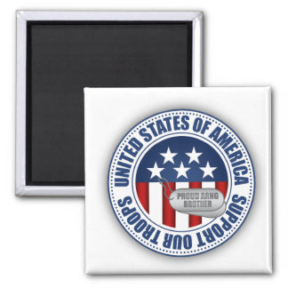 Proud Army National Guard Brother 2 Inch Square Magnet
