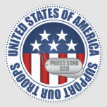 Proud Army National Guard Dad Classic Round Sticker