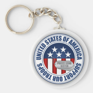 Proud Army National Guard Sister Keychain