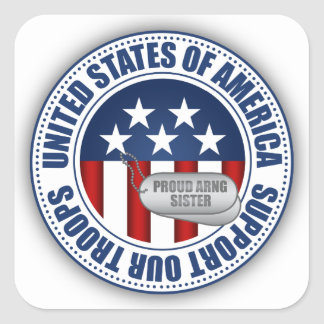 Proud Army National Guard Sister Square Sticker