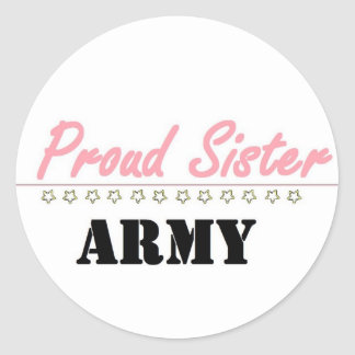 proud army sister (1) classic round sticker