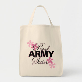 Proud Army Sister Grocery Tote Bag