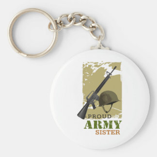 Proud Army Sister Basic Round Button Keychain