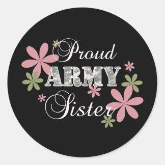 Proud Army Sister [fl c] Classic Round Sticker