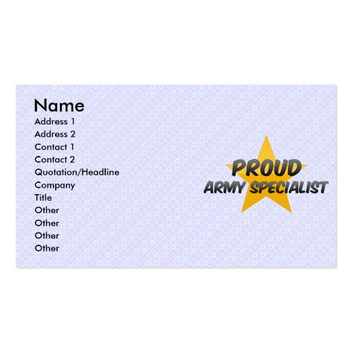 Proud Army Specialist Double-Sided Standard Business Cards (Pack Of 100)