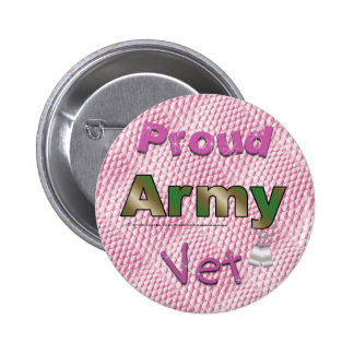 Proud Army Vet Pink Button