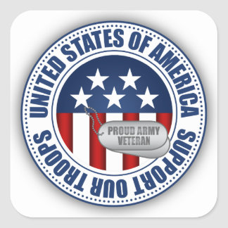 Proud Army Veteran Square Sticker