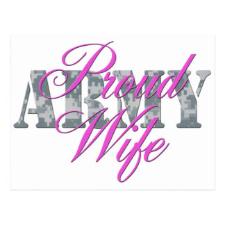proud army wife acu post card