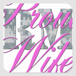 proud army wife acu square sticker