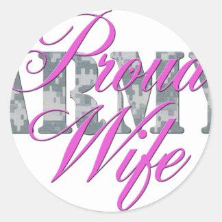 proud army wife acu round sticker
