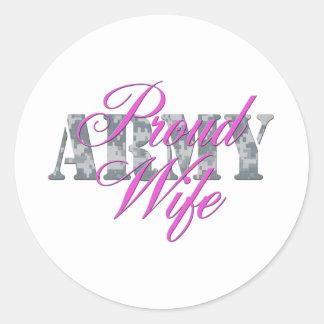 proud army wife acu round stickers
