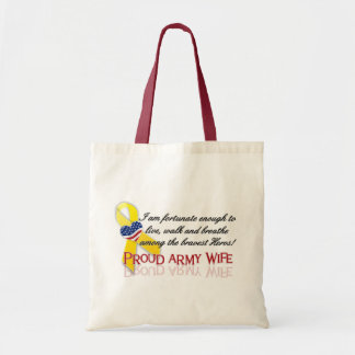 Proud Army Wife Budget Tote Bag